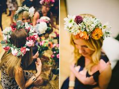 Flower Potluck Bridal Shower - Each guest brings 2 bunches of flowers from their local florist or farmers market. Then throughout the party, they make flower crowns and other floral crafts using everyone's flowers.