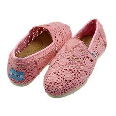 Cheap Toms Crochet Classics Shoes Pink for Women