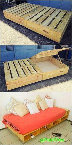 Delightful DIY Wood Pallet Home Furniture Designs - Diy Furniture Bedroom Diy Pallet Furniture, Diy Furniture Projects, Diy Pallet Projects, Home Furniture, Furniture Design, Bed Frame With Storage, Diy Bed Frame, Bed Frame Pallet, Diy Pallet Bed