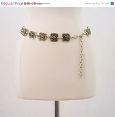 FALL DEAL 60s Belt Vintage Gold Chain Roses Hip by voguevintage, $13.60