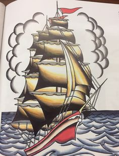 Old school tattoos, images and fans. Submit your old school/traditional tattoo photos and images! Nautical Drawing, Nautical Background, Sailor Jerry Tattoos, Ship Paintings, Drawing For Kids, Landscape Art, Cartoon Art, Creative Art, Art Sketches