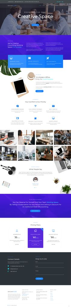 Nowadays many people work as freelancers and coworking is a perfect place to work and communicate with people at the same time. UnionHUB is a great WordPress theme for presenting your business and drawing attention of more customers. You will be able to build a competitive website using Coworking Space theme. Your site will look stylish and have a user-friendly interface with the theme. Coworking Space, Space Theme, Wordpress Theme, Perfect Place, Website, Drawing, Stylish, Business, People