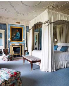 "Scheffer Interiors&ObjetsD'art on Instagram: ""A lovely Suite at the marvelous @ballyfindemesne 🦋🖤🐝💙 • #goodnight #bed #bedroomdecor #bedroomideas #bedroomdesign #bedroom #homedecor…"" Bedroom Furniture, Bedroom Decor, Bed Crown, Georgian Interiors, Edwardian House, Decoration, Instagram, Design, Home Decor"