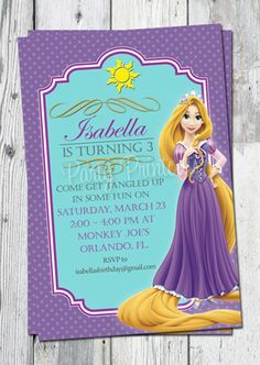 Rapunzel Tangled Invitation, Printable, for Tangled Themed Birthday Party, More Tangled Invitations Rapunzel Invitations, Girls Party Invitations, Print Your Own Invitations, Rapunzel Birthday Party, Tangled Party, 3rd Birthday Parties, Toy Story Birthday, Toy Story Party, Minnie Mouse Baby Shower