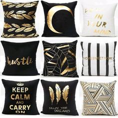 Details about Gold Shining Printed Polyester Pillow Case Sofa Throw Cushion Covers Home Décor Gold Bedroom Decor, White Bedroom Furniture, Diy Room Decor, Sofa Furniture, Furniture Handles, Cabinet Furniture, Bedroom Inspo, Diy Pillows, Decorative Pillows