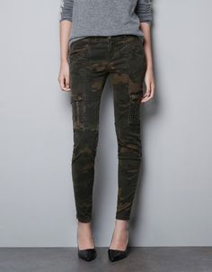 CAMOUFLAGE CARGO TROUSERS - Trousers - TRF - ZARA