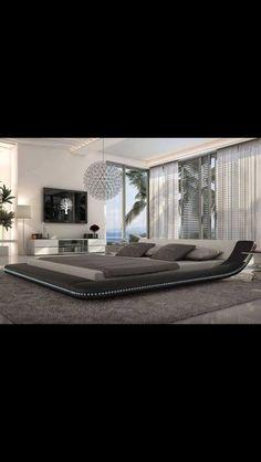 Modern Black Platform Bed with LED Lighting - Queen Size For Bedroom Furniture Beautiful Bedroom Designs, Beautiful Bedrooms, Amazing Bedrooms, Home Interior Design, Interior Architecture, Interior Decorating, Gray Interior, Home Bedroom, Bedroom Decor