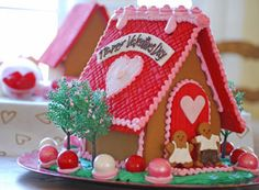 I LOVE this!  So so cute.  Valentine's Gingerbread House - Love Shack – The Solvang Bakery Online Store