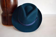 Dark-teal-wool-felt-teardrop-fedora Hat