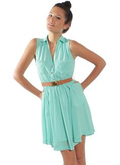turquoise Day Dress... Maybe with a red belt..