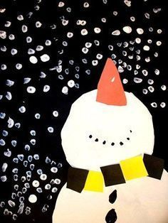 This snowman is easy to make with construction paper shapes (circles, squares, and a triangle) and a Q-tip for painting simple white snow dots.