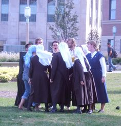 During a visit to Loyola University Chicago, the Sisters joined some Jesuits and a Franciscan Friar in playing the University students in a game of ultimate frisbee.