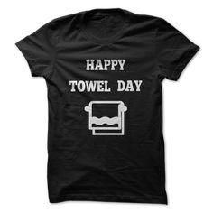 happy towel day T-Shirts, Hoodies. BUY IT NOW ==► https://www.sunfrog.com/Geek-Tech/happy-towel-day-Black-32661178-Guys.html?id=41382