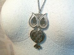 Vintage Silver Owl Necklace by thedepo on Etsy,