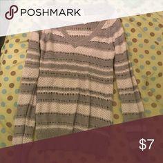 Gray Striped Sweater V-neck striped sweater. Lighter material. Seldom worn. Longer sleeves. Aeropostale Tops Sweatshirts & Hoodies