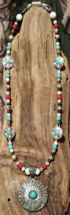 Amazonite, Zebra Jasper, Turquoise, Coral, & Magnitite with Hematite Turquoise Necklace, Beaded Necklace, Necklaces, Crystal Healing, Jasper, Coral, Crystals, Jewelry, Beaded Collar