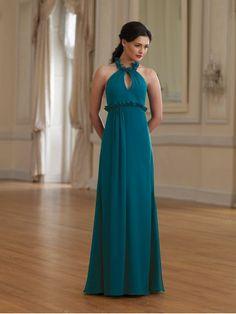 Chiffon Modified Halter Neckline Keyhole Bodice A-line Bridesmaids Dress