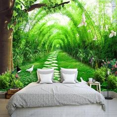 Forest wallpaper jungle pathway mural landscape wall print natural home decor cafe design living room - Wallpaper 3d Wallpaper Mural, Dining Room Wallpaper, Forest Wallpaper, Landscape Wallpaper, Painting Wallpaper, Wallpaper Jungle, Photo Wallpaper, Wallpaper Wallpapers, Living Room Themes