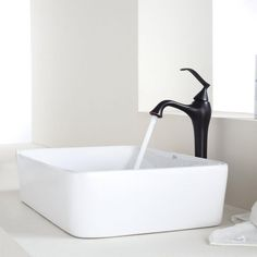 KRAUS Rectangular Ceramic Vessel Sink in White with Ventus Faucet in Oil Rubbed Bronze-C-KCV-121-15000ORB - The Home Depot