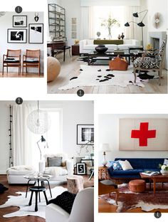 cow hide, blue sofa, black, white and brown living room