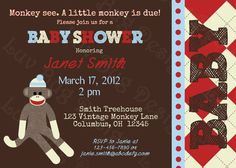 PRINTABLE Sock Monkey Baby Shower Invite DIY by luvbugdesign, $14.00