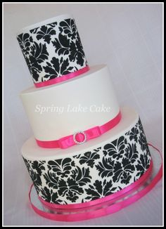 Birthday Cake Black And White And Pink
