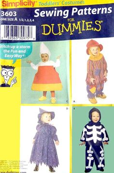 Simplicity 3603 / Toddlers' Costumes / 33 pieces / Sewing Patterns for Dummies / Sizes 6 mo 1 2 3 4 - UNCUT (5.00 USD) by LaraineRoseHandiWorx