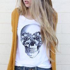 TenThings. FRIDA. skull. vintage soft cotton. t-shirt.