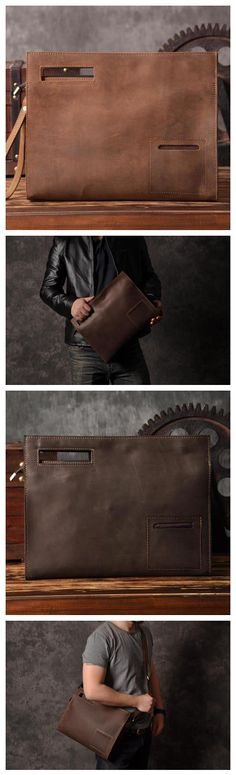 Vintage Style Leather Men Clutch iPad Case Messenger Bag Handbag 14141