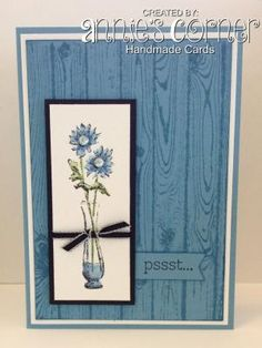 Using Stampin Up Hardwood background stamp, a retired Stampin Up stamp set called Simple Florals. by kristine