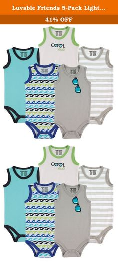 Luvable Friends 5-Pack Lightweight Sleeveless Bodysuits, Boy Sunglasses, 9-12 Months. Our basic Luvable Friends 5-Pack Sleeveless Bodysuits are made of a soft and lightweight fabric to be gentle against baby's sensitive skin. Easy closure crotch makes for easy dressing. The seasonal design helps to keep baby cool and comfortable in warm temperatures! Perfect for wearing during the summer months or under clothes as undershirt in the cooler months!.