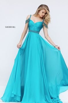 Sherri Hill 50086 gorgeous a-line chiffon dress with off the shoulder embellished straps and embellished waistline.