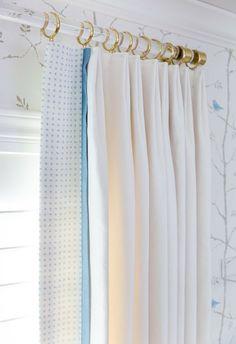 Curtain Rings for Lucite Curtain Rod (Polished Brass, Satin Brass) - Drapery Hardware - Drapery Rings - Curtain Hooks - Eyelet - LuxHoldups Curtain Rod Ends, Curtain Finials, Curtain Hardware, Window Hardware, Drapery Rods, Drapery Fabric, Window Casing, White Nursery, Custom Curtains