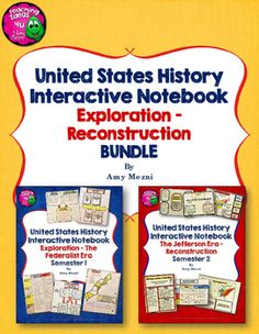 American History Interactive Notebook Exploration - Reconstruction Bundle 8th Gr. This 335 page file is designed as an interactive notebook for middle school American History.  Please note that content is not included.  In this file are graphic organizers to help your student organize his or her American History notebook. ($)