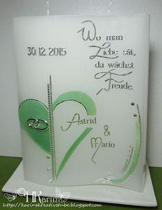 """Karins Kreativstube: Hochzeitskerze """"Astrid & Mario"""" hellgrün"""