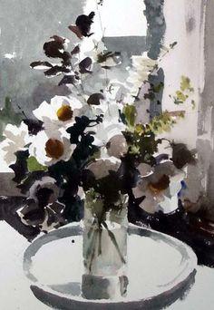 Watercolor - John Yardley (English, b. Watercolor Landscape, Watercolor And Ink, Watercolor Illustration, Watercolour Painting, Watercolor Flowers, Watercolors, Art Floral, Painting Still Life, Art Moderne