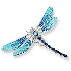 Sterling Silver Dragonfly Brooch in Blue wiht Diamonds and Blue Topaz gemstone.