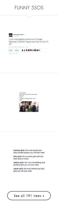 """FUNNY 5SOS"" by maiandshawn ❤ liked on Polyvore featuring 5sos, calum hood, 5 seconds of summer, 5sos extras, baes, people, pics, pictures, random and words"