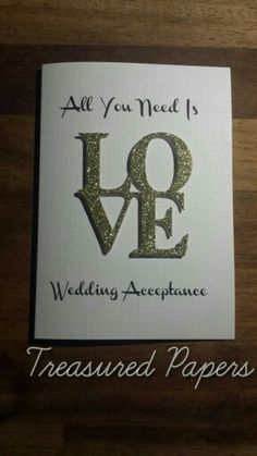 Wedding Acceptance Card. Handmade card by Treasured Papers