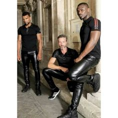 Image may contain: 3 people Leather Trousers Outfit, Mens Leather Pants, Tight Leather Pants, Leather Blazer, Leder Outfits, Handsome Black Men, Leather Fashion, Thing 1, Lederhosen