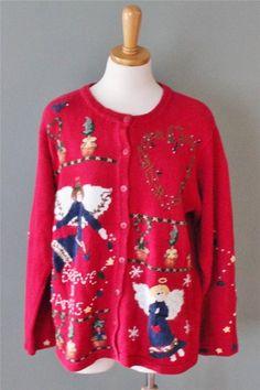 Ugly Christmas Sweater Women men M 2 side angels Quacker Factory deep red CS25 #QuackerFactory #Cardigan