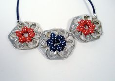 Upcycled Aluminum Soda Pop Tab Necklace Blue and Red Polka Dot Flowers