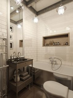 Three Dark Colored Loft Apartments With Exposed Brick Walls Tiled Bathroomsloft