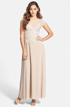Nice, long dress for moms  --  Marina Cap Sleeve Lace Bodice Gown available at #Nordstrom