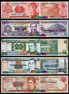 Honduras banknotes - Honduras paper money catalog and Honduran currency history Tegucigalpa, Backpacking South America, Backpacking Europe, Honduras Travel, Honduras Flag, Money Worksheets, Alberta Canada, Puerto Rico History, Uganda