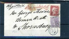 GREAT BRITAIN STAMP COVER 1862 QUEEN VICTORIA 1d RED AND 6d