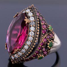 Turkish Evil Eye Multi Gems Navette Ruby Emerald Topaz Sterling Silver Ring Size 8.5 Jewelry