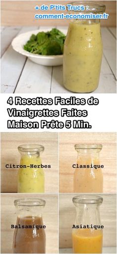More Need To Buy Vinaigrette! Here are 4 Easy Recipes Ready In 5 Min. Source by Easy Healthy Recipes, Easy Meals, Marinade Sauce, Sauces, Chutney, Cantaloupe, Cucumber, Buffet, Voici