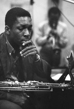 John Coltrane and Miles Davis [NYC, 1959]
