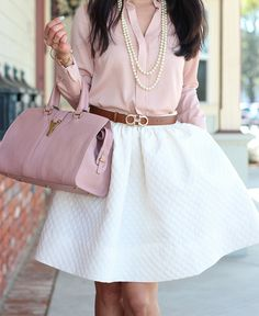 Dainty means business - H White Flared Skirt + Blush Blouse-7 by Stylish Petite, via Flickr